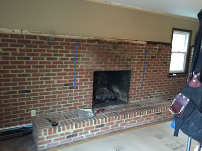 Fireplace before enhancement